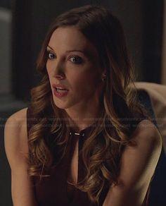 Laurel's burgundy dress with metal keyhole closure on Arrow.  Outfit Details: http://wornontv.net/25535/ #Arrow