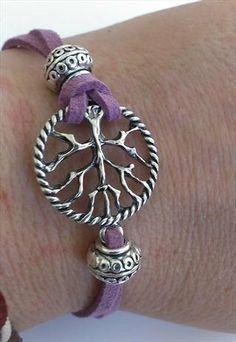 Spiritual Tree Of Life Purple Suede Bracelet by MysticMoonShadow, £15.00