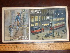 Watercolour illustration for book Electric Arc Lamp Tram Street Scene oil lamp