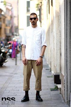 Gabriele Giovannelli #streetstyle #milan #men #tattoo #menswear #classic #sunglasses http://www.nssmag.com/it/streetstyle/4881/gabriele-giovannelli