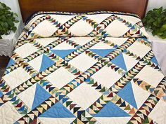 Flying Geese Quilt -- exquisite meticulously made Amish Quilts from Lancaster (hs4847)