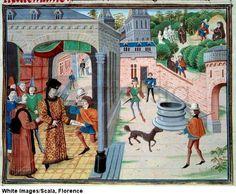 Un messager. Tiree du manuscrit 'Renaud de Montauban' ou 'Les quatre fils Aymon' de Loyset Liedet (actif entre 1448 et 1478). Ms. 5073. 15eme siecle