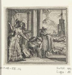 Romeyn de Hooghe | Illustratie voor de Decamerone van Boccaccio, Romeyn de Hooghe, 1697 | Illustratie voor de Decamerone van Boccaccio, historie LXXX. Mevrouw Blanchefleur staat in de haven van Palermo.