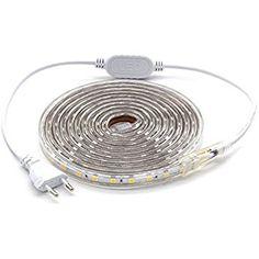 ALOTOA Ruban à LED lumineux, 3M 60LEDs/M SMD 5050 Blanc chaud 3000K, 230V IP68 Bande led étanche pour la maison, décoration de jardin éclairage de la bande de lumière
