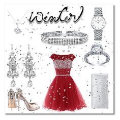 """""""Winter party"""" by sophblack37 on Polyvore featuring Badgley Mischka, Jimmy Choo, Bling Jewelry, Longines and EWA"""