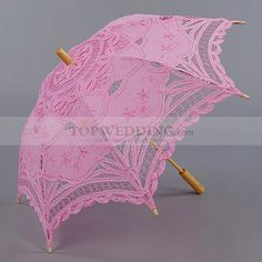 VINTAGE PINK COTTON LACE FLOWER GIRL PARASOL WITH WOOD POST HANDLE
