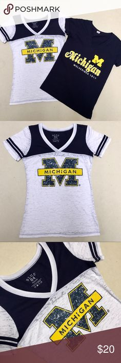 University of Michigan - Women's Vneck Bundle 💙💛 University of Michigan Wolverines Women's Vneck shirts  Two shirt bundle!  Size Women's Medium    Excellent Condition!! 💙💛 Tops Tees - Short Sleeve