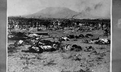 Titled 'Bodies on the Battlefield' but no location given. I think it's somewhere near El Paso, Texas with the Franklin Mountains in the background. Could be the early Concordia cemetery...