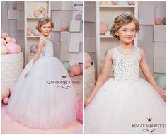 Blanca flor vestido de niña fiesta por KingdomBoutiqueUA en Etsy