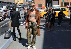 Svea Berlie in Dries Van Noten pants and a Calvin Klein bra