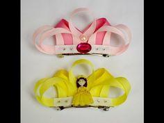 "4"" PRINCESS TIARA Crown Ribbon Sculpture Girls Hair Clip Bow DIY Free Tutorial by Lacey - YouTube"