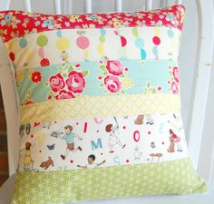 Sidewalks Pillow Cover - Pillow Cover - Patchwork Pillow Cover - Quilted Pillow Cover - Riley Blake Sidewalks - 16 inch