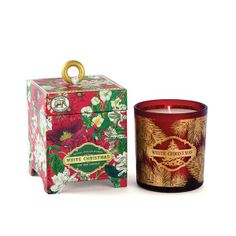 White Christmas 6.5 oz. Soy Wax Candle Our handmade, all-natural candles are 100% soy wax, a renewable resource that's nontoxic, biodegradable, and burns clean. Each candle comes in a printed glass container packaged in a footed box with a wooden ring pull and gold foil
