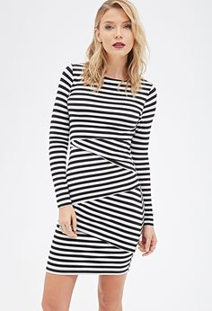 Striped Bodycon Dress | FOREVER21 (Feb) Price: 19.90 Composition: rayon, spandex Look like a total babe in this long-sleeved bodycon dress. It's made visually fetching from every angle with its allover stripes and asymmetric tiers (in other words, all eyes will be on you). Complete with a round neckline, this is the ultimate go-to for painting the town with the girls.