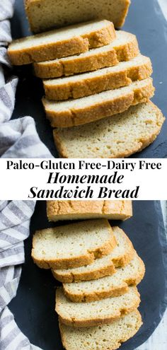 This paleo sandwich bread is easy to make fluffy light and perfect for any type of sandwich! You can toast in and make breakfast sandwiches have a BLT or top with almond butter fruit preserves and bananas for a healthy grain free and paleo treat. Paleo Sandwich Bread, Homemade Sandwich, Pan Sin Gluten, Sans Gluten, Paleo Dessert, Gluten Free Baking, Healthy Baking, Healthy Gluten Free Bread, Desayuno Paleo