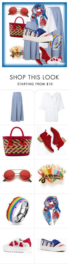 """funny summer🙌🍉🌈🍹"" by israa-hosni ❤ liked on Polyvore featuring ADAM, Maison Rabih Kayrouz, Nannacay, Jeffrey Campbell, ban.do, West Coast Jewelry, Gucci, Salvatore Ferragamo and Kate Spade"