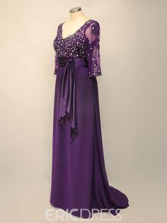 edff50caf4 Delicate Lace A-line Empire Waist V-Neck Plus Size Mother of the Bride Dress  3