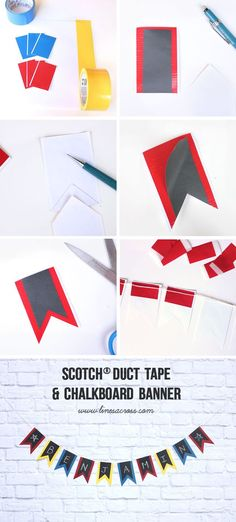 Chalkboard and Duct Tape Banner (Made with Scotch Chalkboard Tape - so cool!) #ScotchDuctTape #3MPartner