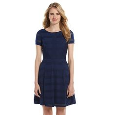 LC Lauren Conrad Open-Work Fit & Flare Dress - Women's comes in navy, taupe and black $36.00 sale