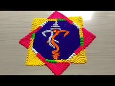very easy Ganesh chathurthi rangoli ith colours 2018 Easy Rangoli Designs Videos, Easy Rangoli Designs Diwali, Rangoli Designs Latest, Rangoli Designs Flower, Colorful Rangoli Designs, Small Rangoli, Rangoli Ideas, Flower Rangoli, Beautiful Rangoli Designs