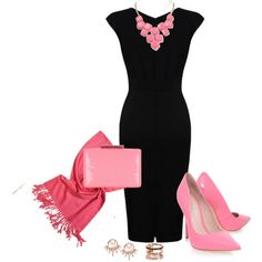 In love with the striking black dress and pink accessories. I Must have this look