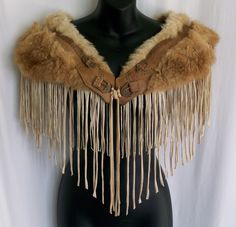 fur shawl, collar, cape, capelet, costume, LARP, festival fur, festival clothing,burning man, fringe,fringe clothing, vintage, up cycled by LamaLuz on Etsy https://www.etsy.com/listing/252286468/fur-shawl-collar-cape-capelet-costume