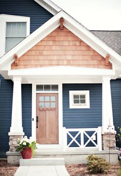 Exterior House Colors With Brown Roof: Lisa Mende Design: Best Navy Blue Paint Colors House Paint Exterior, Exterior House Colors, Exterior Design, House Ideas Exterior, Outdoor House Colors, Modern Exterior, Exterior Doors, Gray Exterior, Exterior Remodel