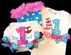 First Birthday Girl Outfit Owl Hoot Bodysuit by whimsytots on Etsy, $32.50