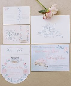 Romantic Watercolor Invitations by Leveret Paperie