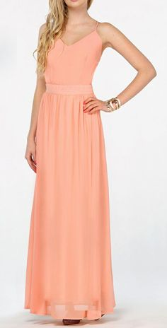 Peach V-neck Spaghetti Straps Backless Maxi Dress