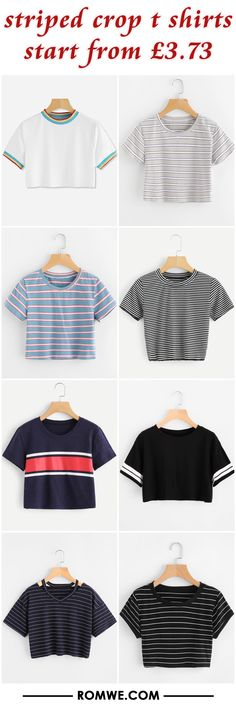 Striped crop t shirts from £ ropa en 2019 гардероб, оде Teen Fashion Outfits, Casual Fall Outfits, Outfits For Teens, Trendy Outfits, Girl Fashion, Cool Outfits, Summer Outfits, Look Girl, Crop Top Outfits