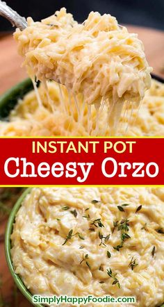 Instant Pot Cheesy Garlic Orzo is a delicious pasta side dish, and those little orzo pasta grains become so soft and creamy. It is very easy and quick to make pressure cooker orzo pasta! Instant Pot recipes by simplyhappyfoodie. Orzo Recipes, Top Recipes, Side Dish Recipes, Healthy Recipes, Delicious Pasta Recipes, Soft Food Recipes, Cheesy Pasta Recipes, Dinner Recipes, Cooking Recipes