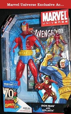 Marvel Universe Exclusive Action Figure 2Pack Iron Man Full Size 12 Inch Goliath Blue Yellow Includes Avengers #51. With his sizechanging powers growing ever more refined, Henry Pym returned once again to the Avengers to adventure alongside his fellow founding member Iron man. Combining size and raw power with the latest in advanced transistors and magentic repulsors, the gigantic Goliath and the invincible Iron Man protect manking from ancient gods, evil robots and beasts from deep…