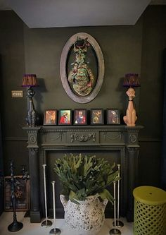 Madison Grey which has a gorgeous green undertone by Abigail Ahern painted by Oliver Thomas Decor, Green Decor, Decor Inspiration, Cozy House, Living Room Designs, Dark Interiors, Interior Art, Dream Decor, Eclectic Interior