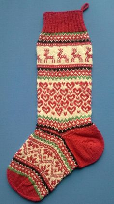 Christmas stocking, design for a new kit for the Arne & Carlos Range Knitted Christmas Stocking Patterns, Knitted Christmas Stockings, Knitting Books, Knitting Charts, Arne And Carlos, Norwegian Knitting, Knit Stockings, Warm Socks, Merry And Bright