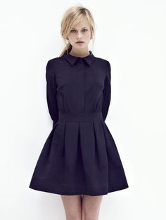 Women's fashion | Beautiful black shirt dress with strict collar and large pleats