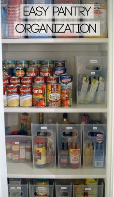 Pantry organization, uses under shelf baskets and multi purpose bins from the container store