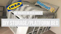 Ideas ikea closet diy platform beds for 2019 Diy Storage Platform Bed, Build A Platform Bed, Modern Platform Bed, Ikea Platform Bed Hack, Ikea Toy Storage, Diy Storage Bed, Storage Hacks, Ikea Closet, Ikea Bed