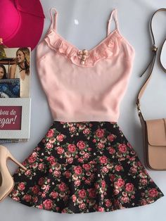 Pretty In Pink Polka dots Casual Skirt Outfits, Cool Outfits, Girl Fashion, Fashion Outfits, Womens Fashion, Forever 21 Outfits, Casual Looks, Spring Outfits, Ideias Fashion