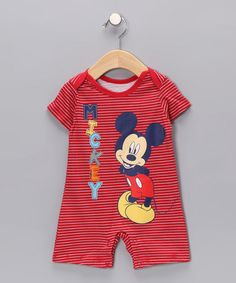 $8.99!  Take a look at this Red 'Mickey' Stripe Romper - Infant by Disney on #zulily today!