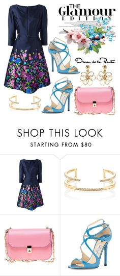 """Glamour"" by hastypudding ❤ liked on Polyvore featuring Oscar de la Renta, Jules Smith, Valentino, Jimmy Choo, contest, polyvorecommunity, floraldress, fashionset and AmiciMei"