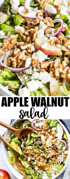 Whether you need a fresh lunch idea, a new favorite summer salad, or a tasty way to eat foods that make you feel great, this easy Apple Walnut Salad checks all the boxes. It's a perfect combination of crisp lettuce, sweet apples, crunchy walnuts, salty feta cheese, and a lightly sweetened Balsamic Vinaigrette. It has all the colors, flavors, and textures you crave! #applewalnutsalad #salad #summersalad #healthylunch #culinaryhill