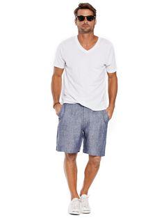 d332999241 Seal Linen Shorts for Men - Men's Blue Linen Shorts | Island Company