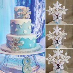 Frozen cake topper, Frozen Centerpieces, Snowflake cake topper,Frozen decorations, Frozen Party Decor,Frozen Inspired Decoration, etsy by BellasBloomStudio on Etsy