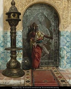 rudolf ernst  paintings | Nubian Guard - Rudolph Ernst - WikiGallery.org, the…
