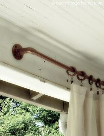 Our Vintage Home Love: Back/Side Porch Ideas For Summer And An Industrial  Pipe Curtain Rod How To   PVC Pipe Painted Copper