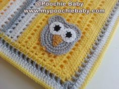 crochet colorful baby blanket | Yellow, gray and white owl blanket. Pattern: $4.50 buy now !