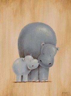 Safari Kisses - Hippos Canvas Wall Art