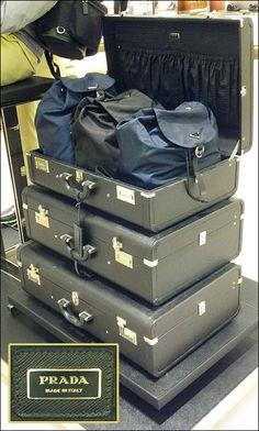 Prada Valise Self Display with logo Prada, Retail Design, Visual Merchandising, Logo Branding, Trunks, Display, Suitcases, Designers, Boutique