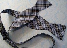 Saddlebred Preppy Classy Bow Tie Plaid Navy Blue & Lt Blue Adjustable 100% Silk #Saddlebred #BowTie